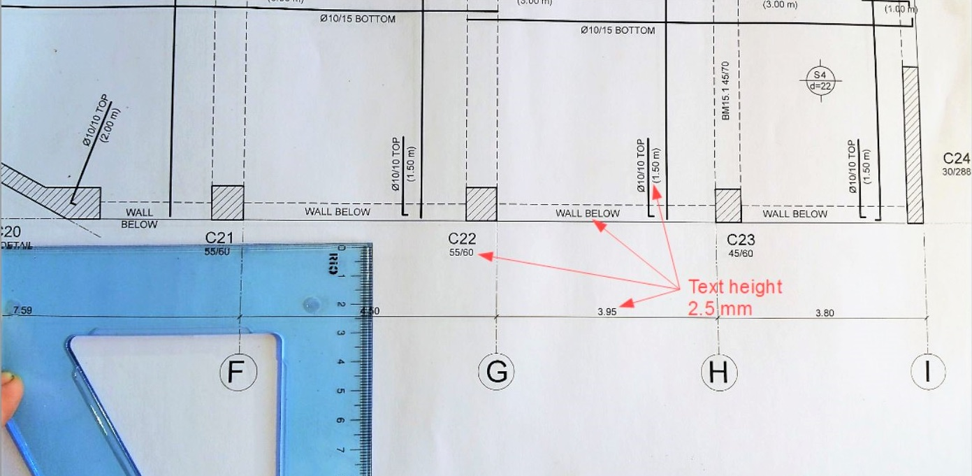 Text size and font in technical drawing,  Structural concrete drawing example