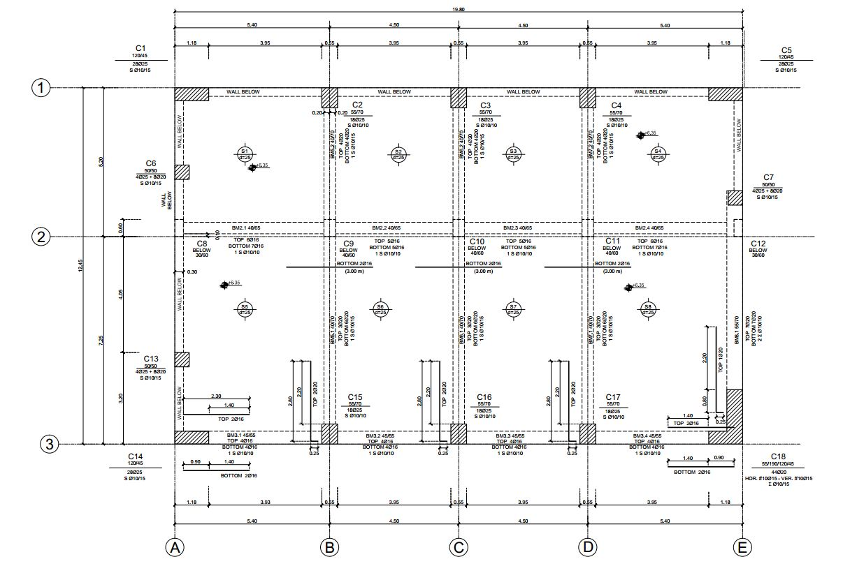 Reinforced concrete structural drawing of columns and beams